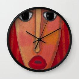 Big Red Lips Abstract Digital Painting  Wall Clock