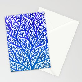 Fan Coral – Blue Ombré Stationery Cards