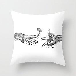 the creation of cannabis Throw Pillow