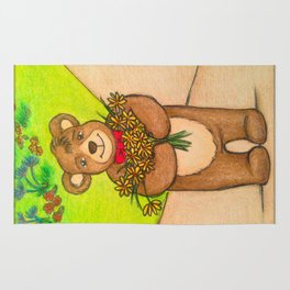 FLOWERS FOR YOU - Adorable Little Teddy Bear Flowers Floral Cute Colorful Original Illustration Rug
