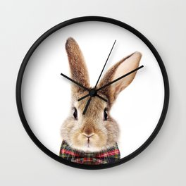 Bunny With Bow Tie, Baby Animals Art Print By Synplus Wall Clock
