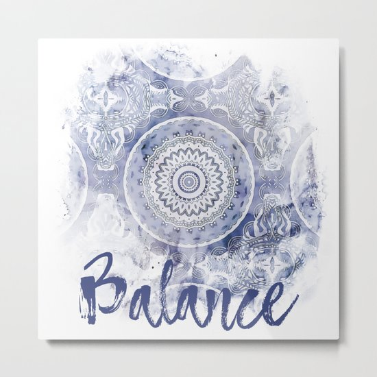 Blue Watercolor Mandala Painting with Word Balance Metal Print