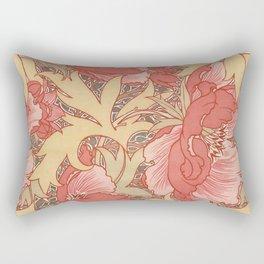 William Morris Poppies Floral Art Nouveau Pattern Rectangular Pillow