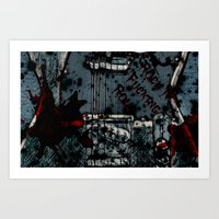 rock n roll Art Prints featuring Rock 'n Fucking Roll by Eric Rasmussen