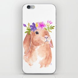 Floppy Ear Bunny Floral Watercolor iPhone Skin