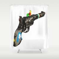 hippy Shower Curtains featuring HIPPY GUN by kasi minami