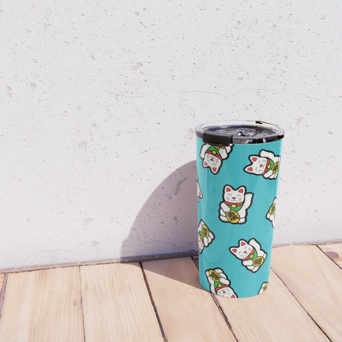Lucky Cat Pattern Travel Mug