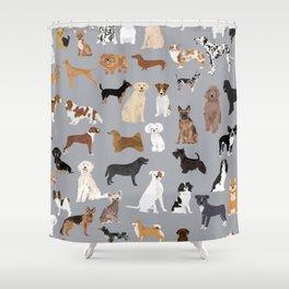Mixed Dog lots of dogs dog lovers rescue dog art print pattern grey poodle shepherd akita corgi Shower Curtain