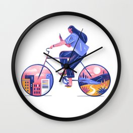 girl and bike Wall Clock