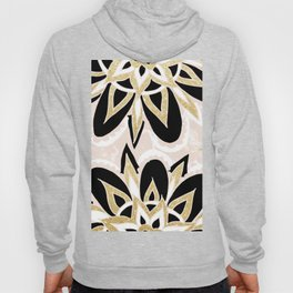 Modern black gold pink abstract floral pattern Hoody