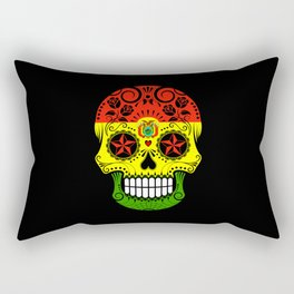 Sugar Skull with Roses and Flag of Bolivia Rectangular Pillow