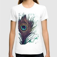 peacock feather T-shirts featuring Peacock Feather by KunstFabrik_StaticMovement Manu Jobst