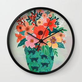 Jar with flowers, cute floral bouquet Wall Clock