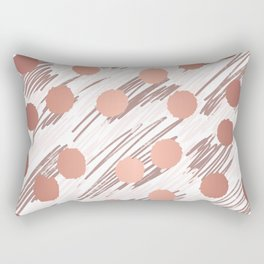 Scratch and Dot abstract minimalist copper metallic art and patterned decor Rectangular Pillow