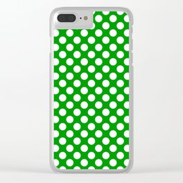 White and green polka dots Clear iPhone Case