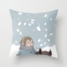 Pig in snow Throw Pillow