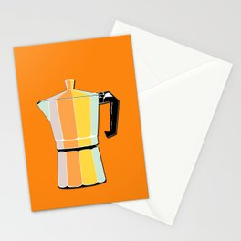 Retro Coffee Pot - Vintage Spring Colors on Morning Sun Background Stationery Cards