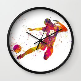 Soccer player isolated 06 in watercolor Wall Clock