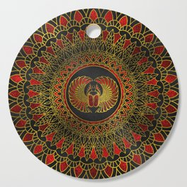 Egyptian Scarab Beetle - Gold and red  metallic Cutting Board