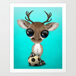 Cute Baby Reindeer With Football Soccer Ball Art Print