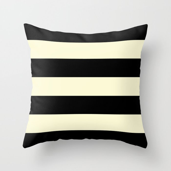 Black and Cream Stripe Throw Pillow