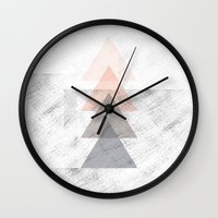 triangles Wall Clocks featuring Triangles by Indiepeek