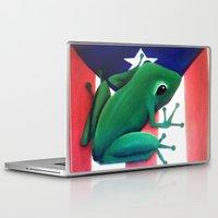 puerto rico Laptop & iPad Skins featuring Puerto Rico El Coqui Painting  by Huesca Arts by Yolanda Huesca