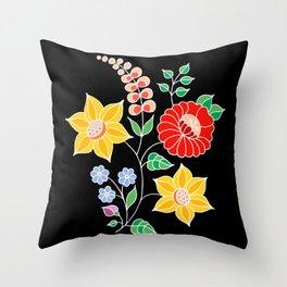 Hungarian placement print - black Throw Pillow