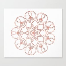 Mandala Flowery Vine Rose Gold on White Canvas Print