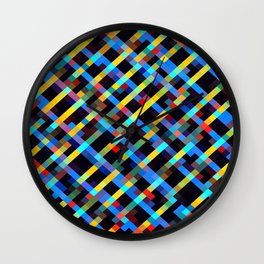 geometric pixel square pattern abstract background in blue yellow red orange Wall Clock