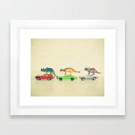 Dinosaurs Ride Cars Framed Art Print