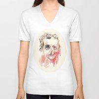 poe V-neck T-shirts featuring Poe by Elena López Macías