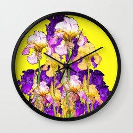Purple Yellow & Purple Iris Flowers Wall Clock
