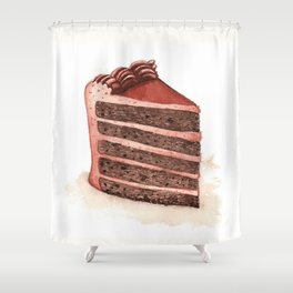 Chocolate Layer Cake Slice Shower Curtain