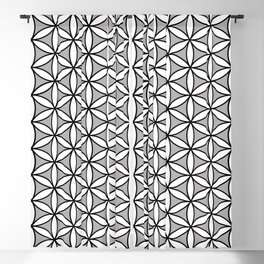 Flower of Life Pattern BW on Gray Blackout Curtain