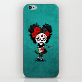 Day of the Dead Girl Playing Mexican Flag Guitar iPhone Skin