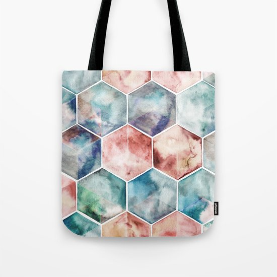 Earth and Sky Hexagon Watercolor Tote Bag