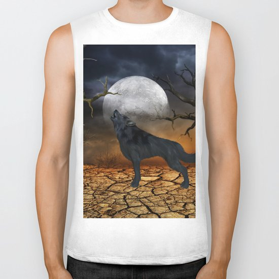 The lonely wolf Biker Tank