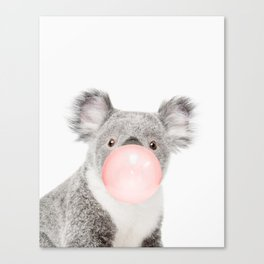 Koala, Bubble gum, Pink, Animal, Nursery, Minimal, Trendy decor, Interior, Wall art Canvas Print