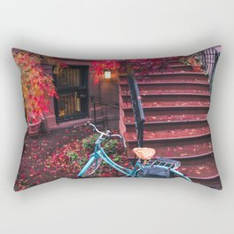 New York City Brooklyn Bicycle and Autumn Foliage Rectangular Pillow