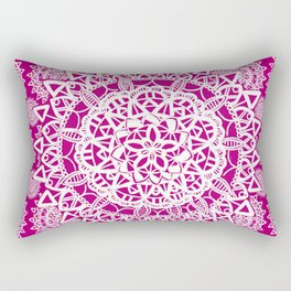 Pink and White Patterned Mandala Textile Rectangular Pillow