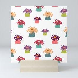 Psychedelic anemones white Mini Art Print