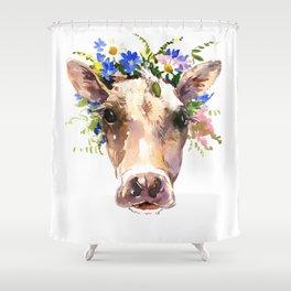 Cow Head, Floral Farm Animal Artwork farm house design, cattle Shower Curtain