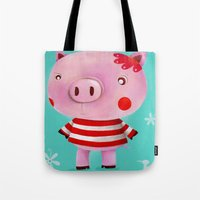 piglet Tote Bags featuring Piglet by Gabriela Granados