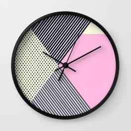 Pink Yellow Black Striped Modern Geometric Wall Clock