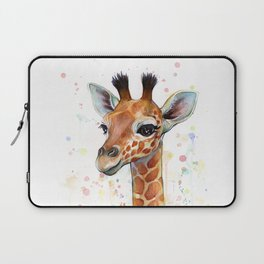 Giraffe Baby Animal Watercolor Whimsical Nursery Animals Laptop Sleeve