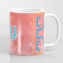 Joy On A Blue Orange Pattern Coffee Mug