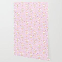 Happy Birthday Orange Fox Pink Background Pattern Wallpaper