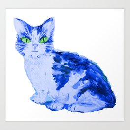 Feline Blue, Cat print Art Print