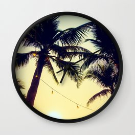 Vintage Palm trees with patio lanterns Wall Clock